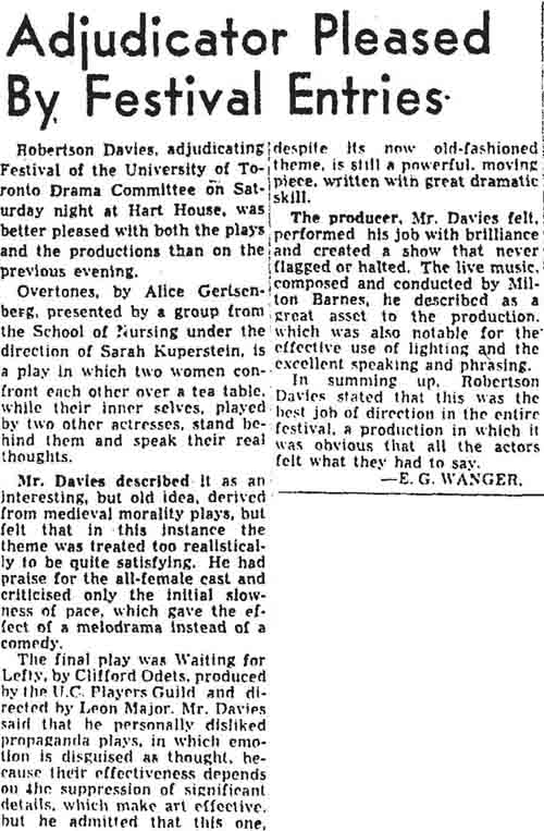 gm 1954-02-15 adjudicator pleased by festival entries robertson davies