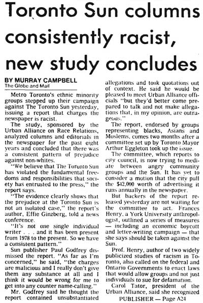 gm 1985-12-13 Toronto Sun columns consistently racist, new study concludes 1