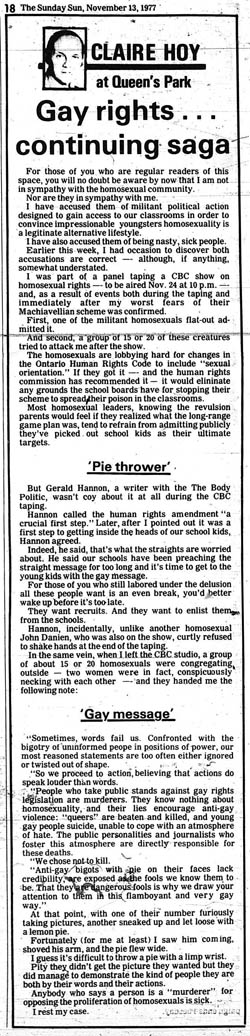 sun 77-11-13 hoy anti-gay column