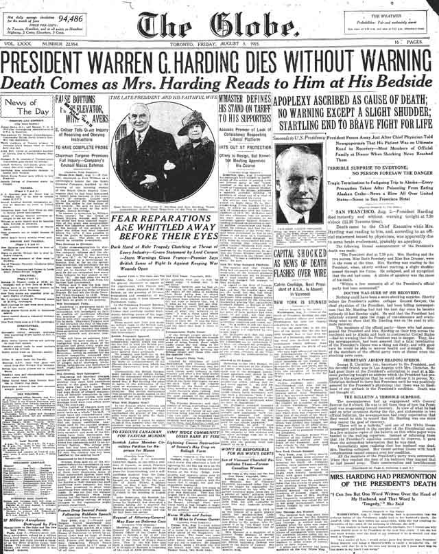 globe 1923-08-03 front page