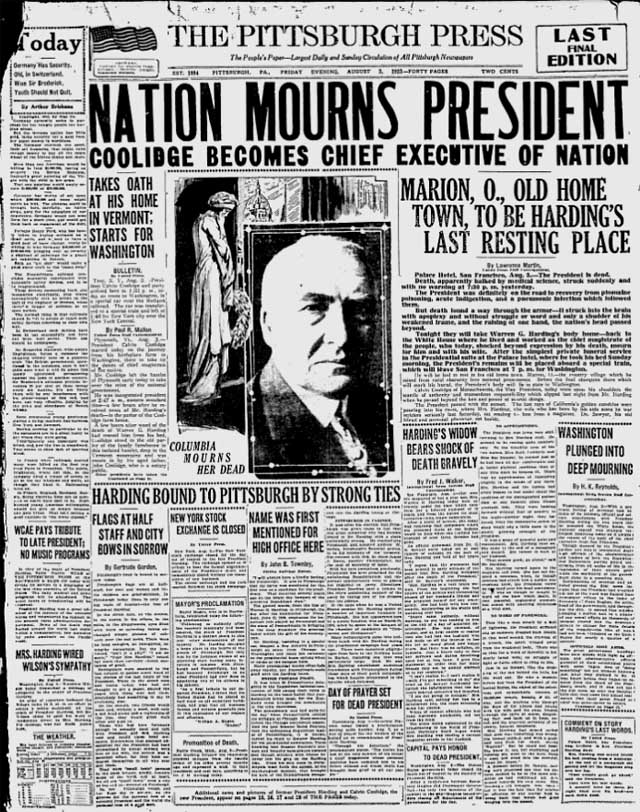 pittsburgh press 1923-08-03 front page
