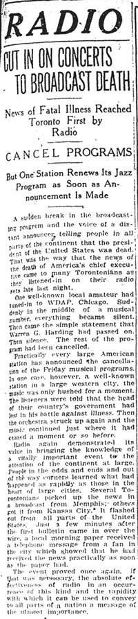 star 1923-08-03 radio coverage of harding death in toronto