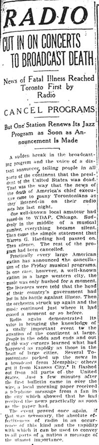 star 1923-08-03 radio coverage of harding death in toronto