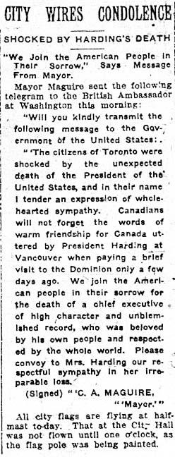 tely 1923-08-03 death of harding 2 mayor's reaction