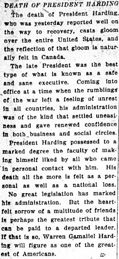 tely 1923-08-03 death of harding editorial