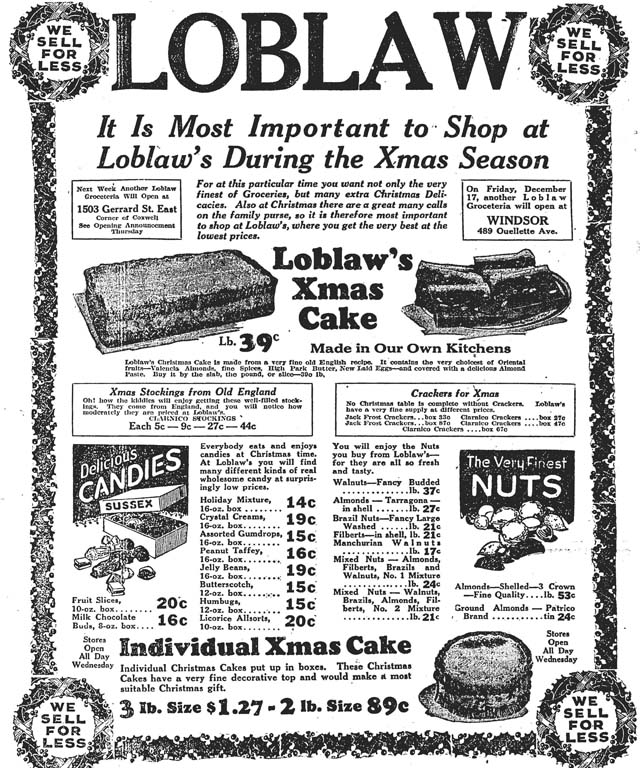 globe 1926-12-14 loblaws xmas cake ad