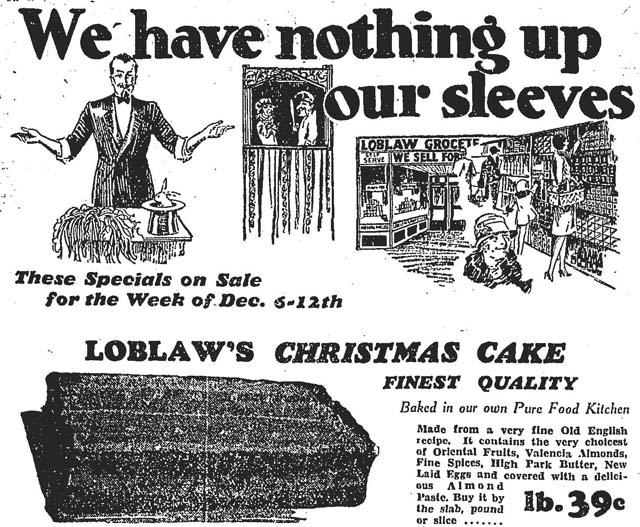 globe 1929-12-06 loblaws xmas ad