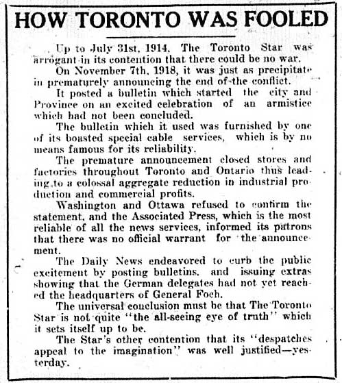 news 1918-11-08 front page how toronto was fooled