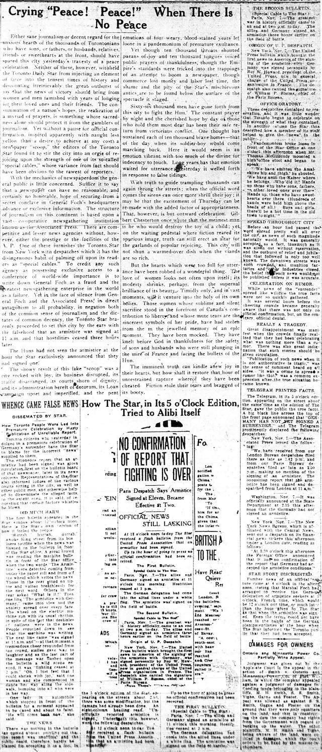 tely 1918-11-08 more attacks on star over false alarm