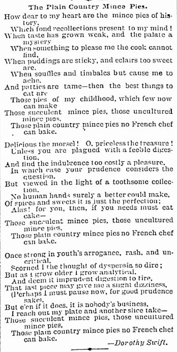 mail 1888-12-22 women's kingdom mince pies poem