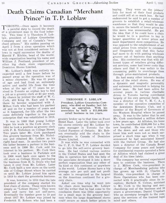 canadian grocer 1933-04-07 loblaw obit