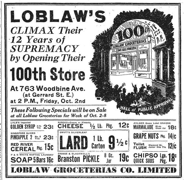 globe-1931-10-02-ad-for-100th-store-at-woodbine-and-gerrard