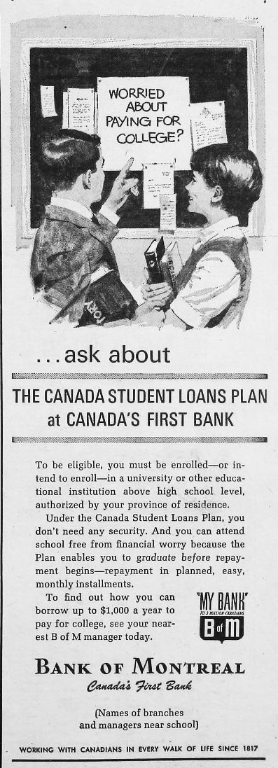 varsity 1965-10-06 cslp bank of montreal ad