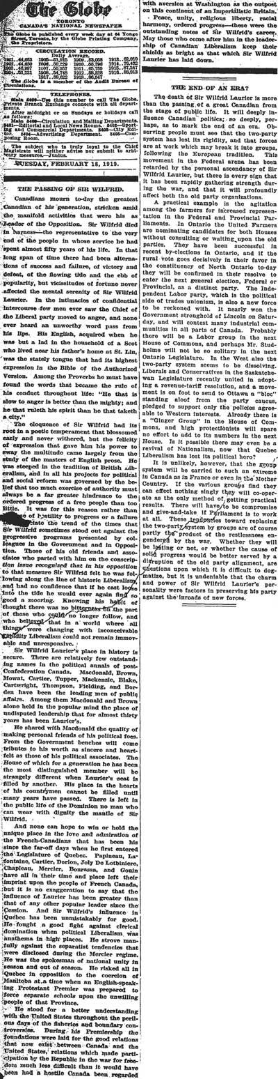 globe 1919-02-18 editorial
