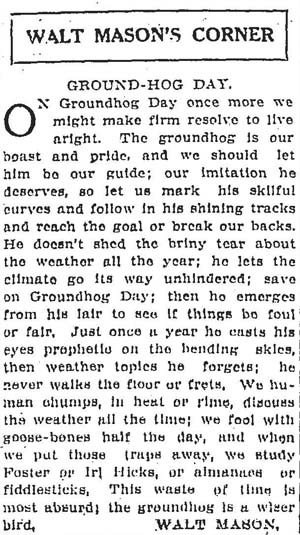 star 1912-02-02 groundhog day on editorial page