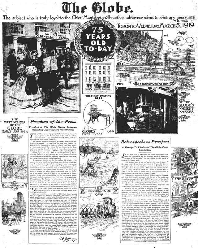 globe 1919-03-05 75th anniversary front page
