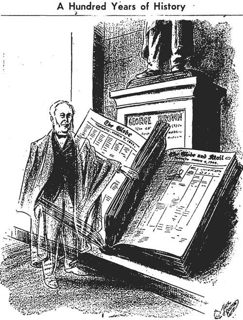 gm 1944-03-04 100th anniversary editorial cartoon