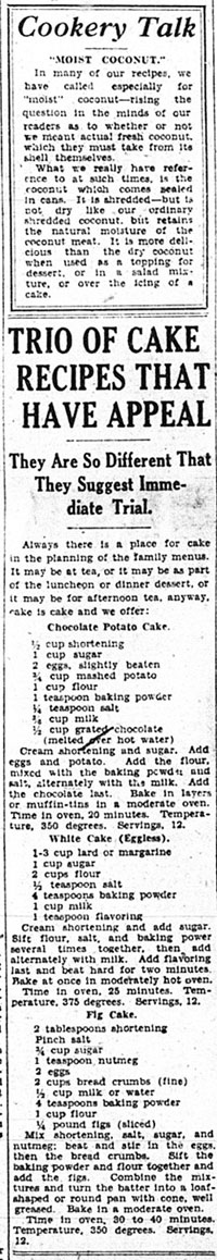 me 1933-03-03 page 10 trio of cake recipes