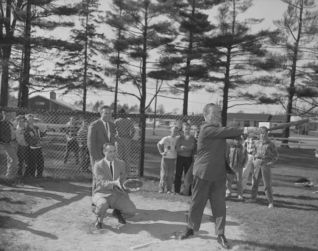 Lester B. Pearson playing baseball with Red Kelly at Coronation Park in Oakville