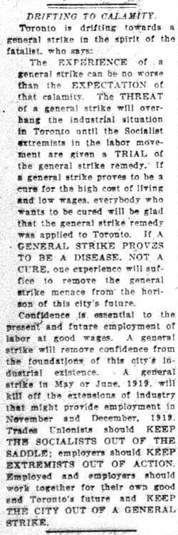tely 1919-05-29 drifitng to calamity editorial