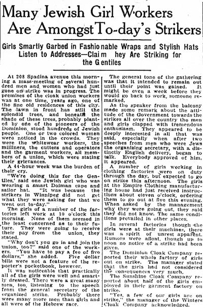times 1919-05-30 woman's page jewish girls among strikers