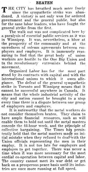 times 1919-06-04 editorial on strike being beaten