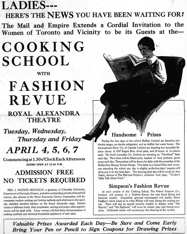 me 1933-03-27 cooking show fashion revue ad