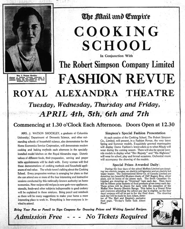 me 1933-03-30 cooking show fashion review ad