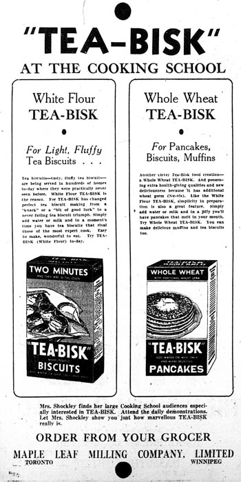 me 1933-04-05 tea-bisk cooking school ads