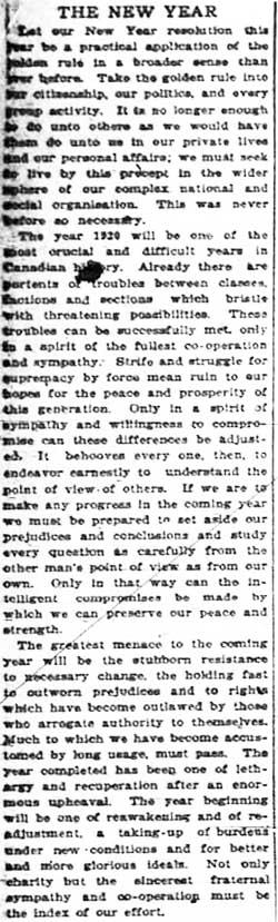 albertan 1919-12-31 editorial
