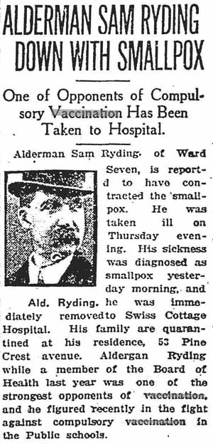 star 1920-01-22 anti-vax alderman has smallpox