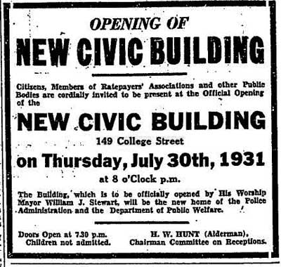 globe 31-07-30 ad for opening of new civic building