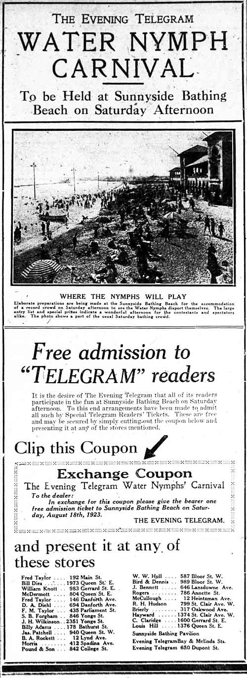 tely 1923-08-13 water nymph carnival ad