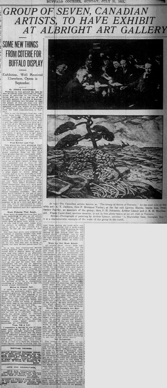 buffalo courier 1921-07-31 group of seven profile 640