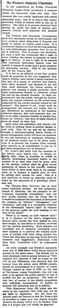 gm 1949-03-28 editorial on protecting ontario charities