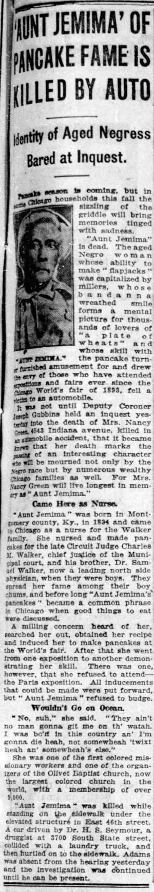 chicago tribune 1923-09-04 nancy green obit