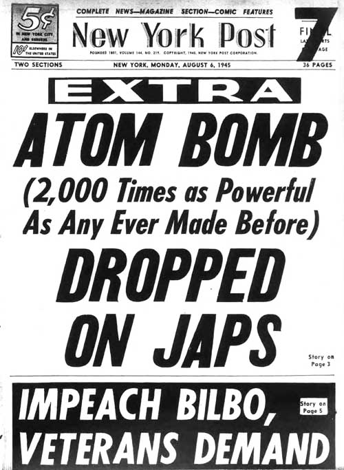 ny post 1945-08-06 front page
